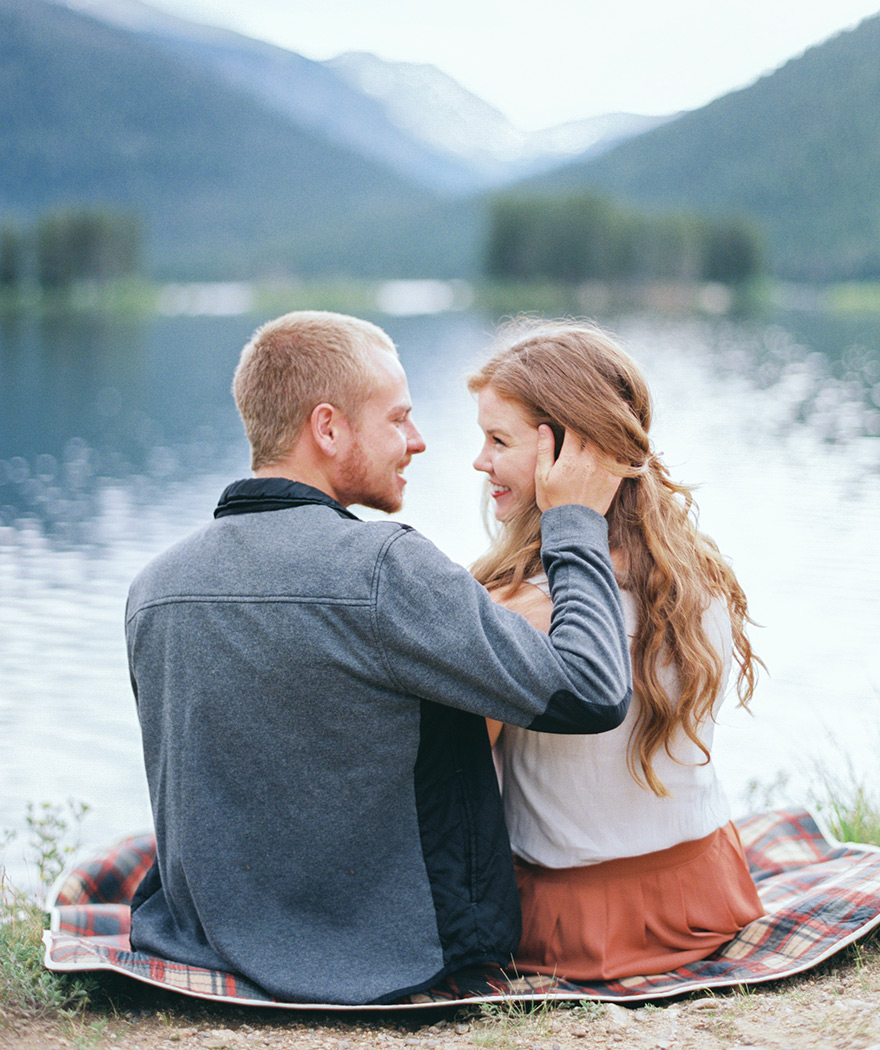 Couple in love lake side Colorado