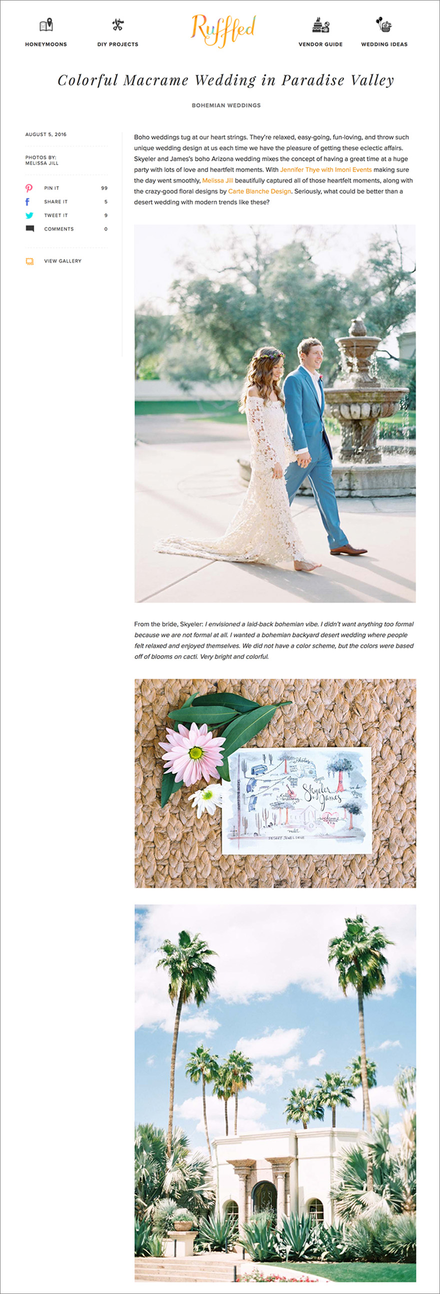 Bohemian wedding photographed by Melissa Jill featured on Ruffled Blog
