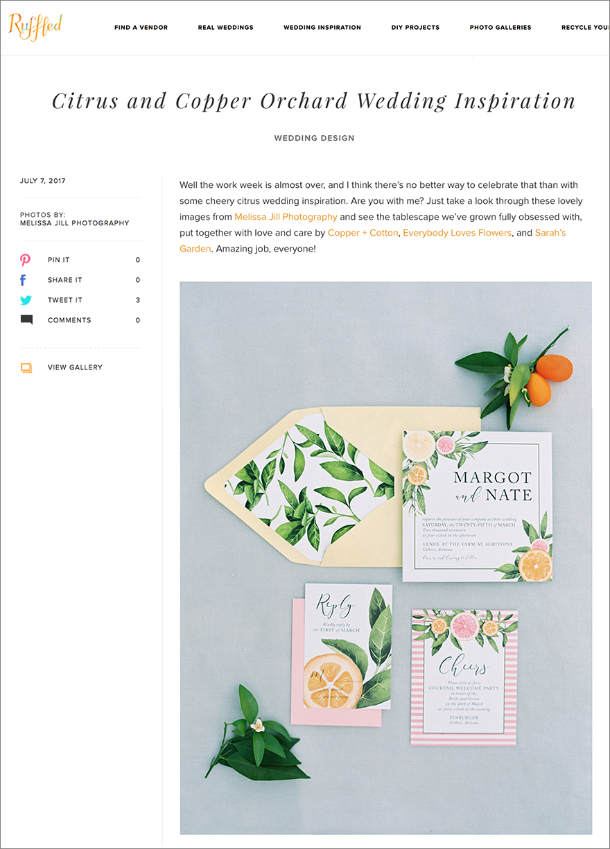 citrus wedding inspiration featured on Ruffled Blog