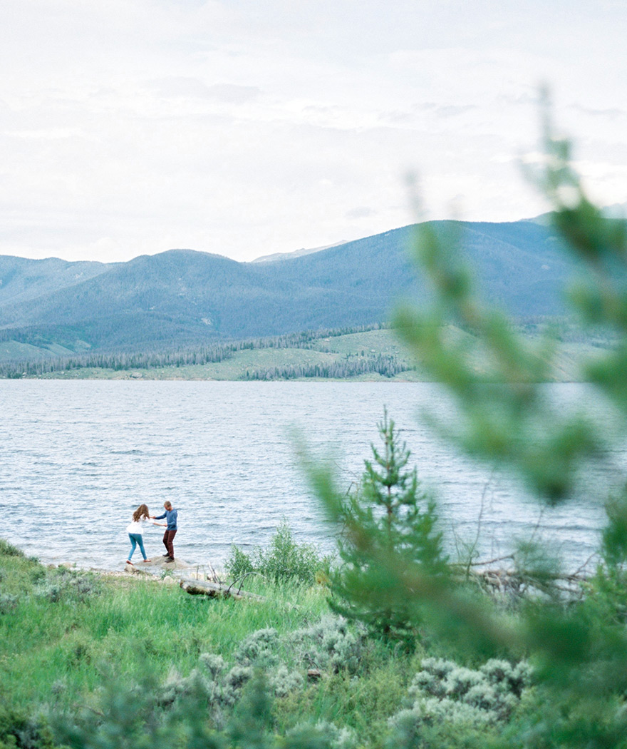 Dancing couple in Colorado Lakeside session