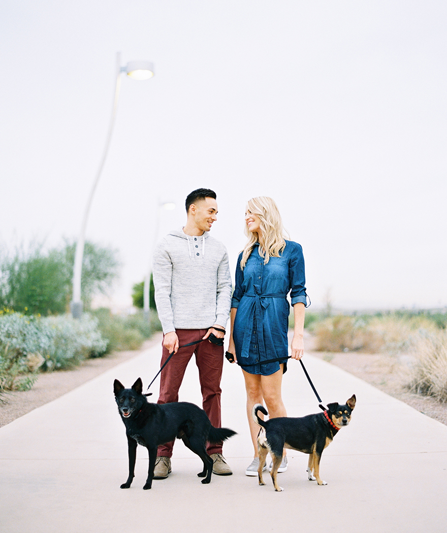 Tempe engagement photos with dogs