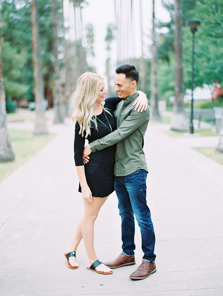 engagement photos on Palm Walk at ASU