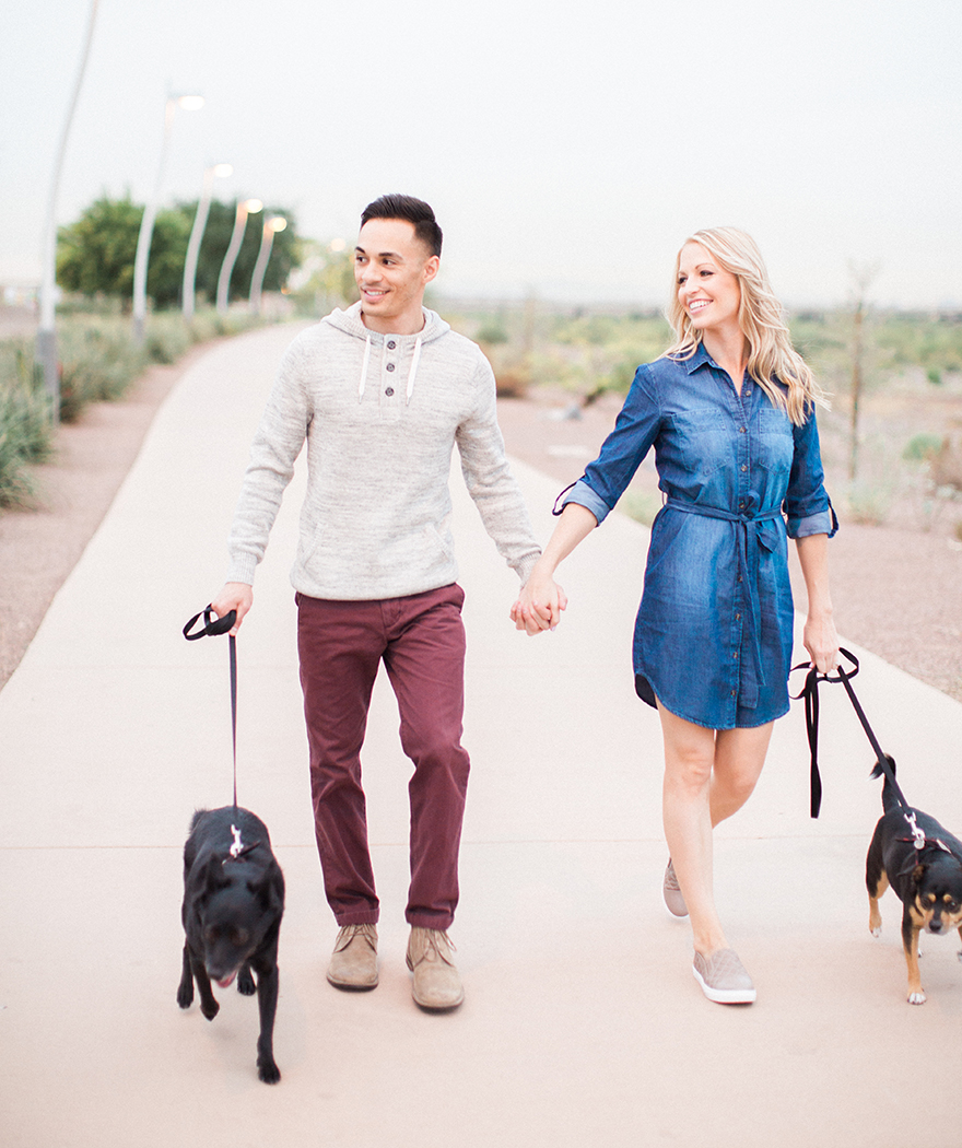 Engagement photos in Tempe with dogs