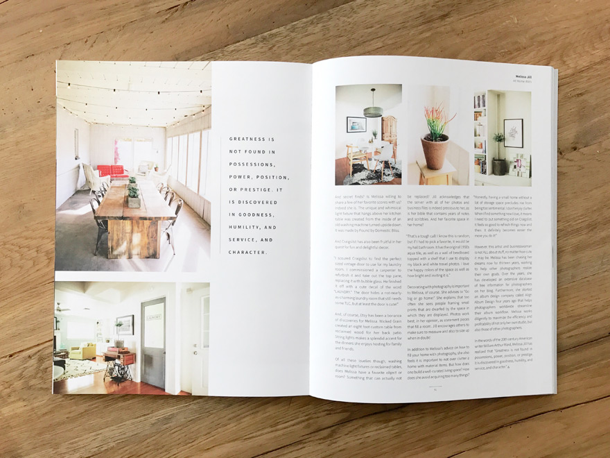 Aglow Magazine Feature of Melissa Jill's Home