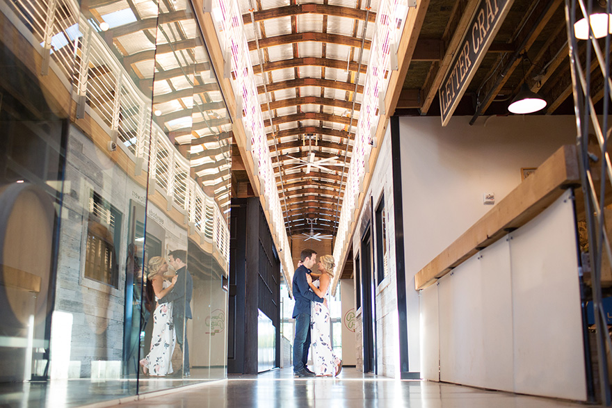 engagement shoot in an industrial space