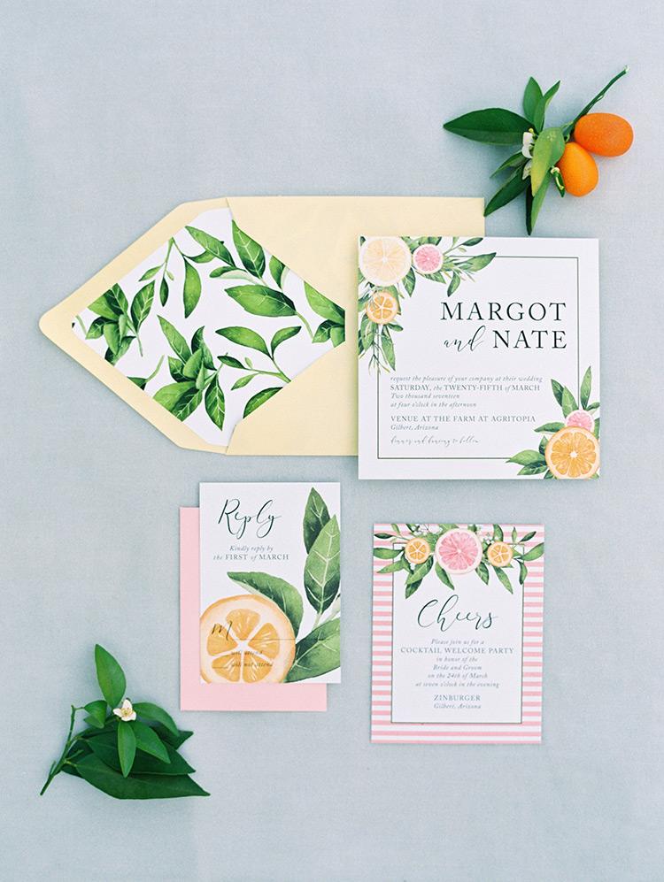 citrus themed wedding invitation by Lola Lee Invitations