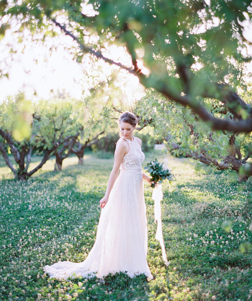 bohemian bride; orchard wedding