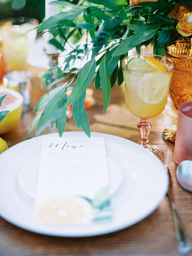 citrus table setting