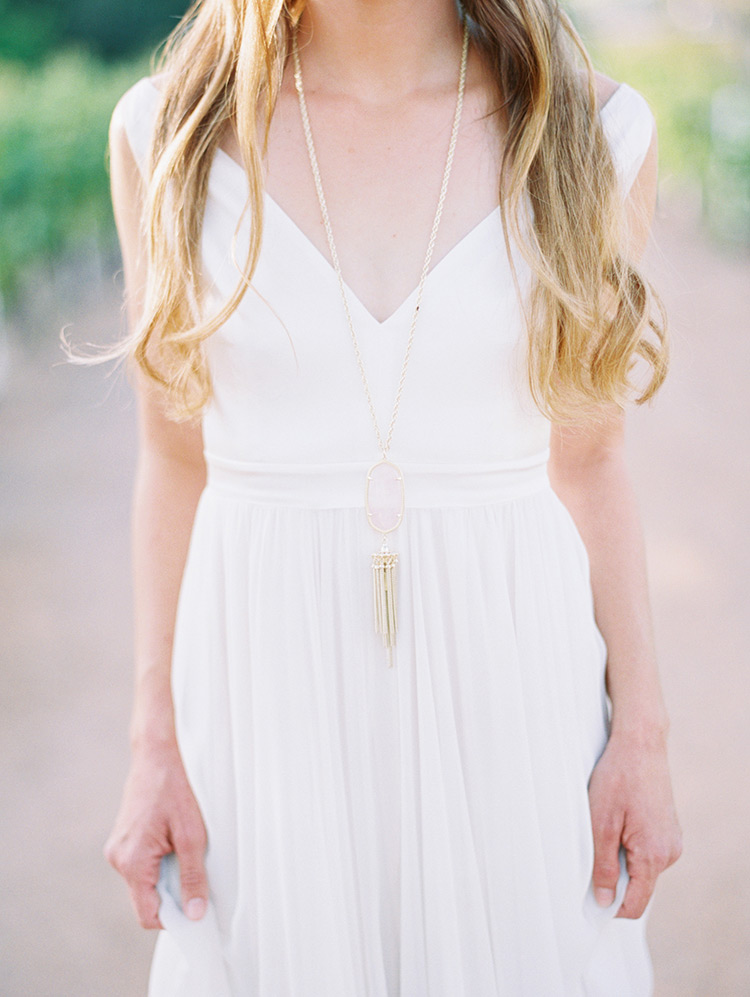 simple flowy wedding dress with a v-neck