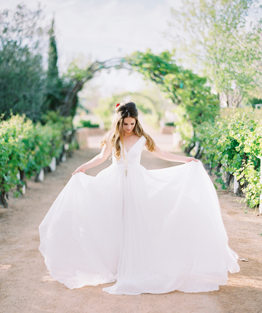 flowy wedding dress with a v-neck