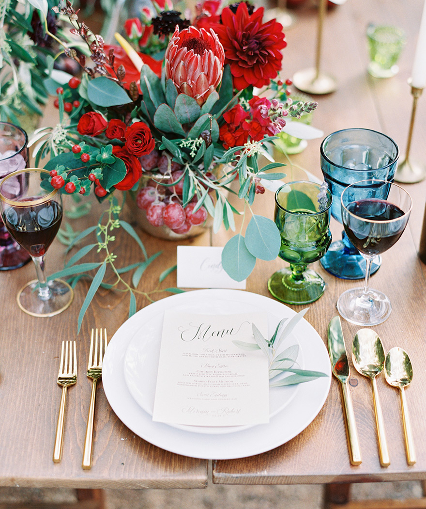 place setting at a romantic wine inspired wedding reception at The Farm at Agritopia