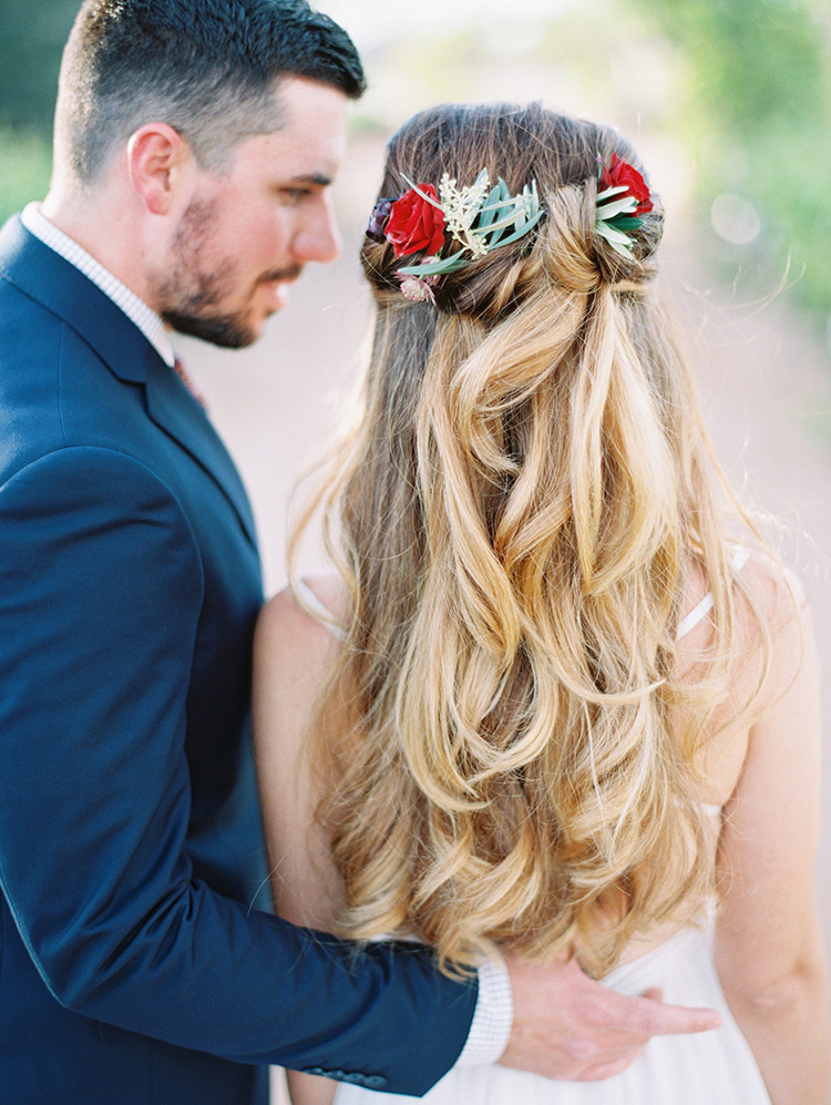 half up half down bridal hair with flowers