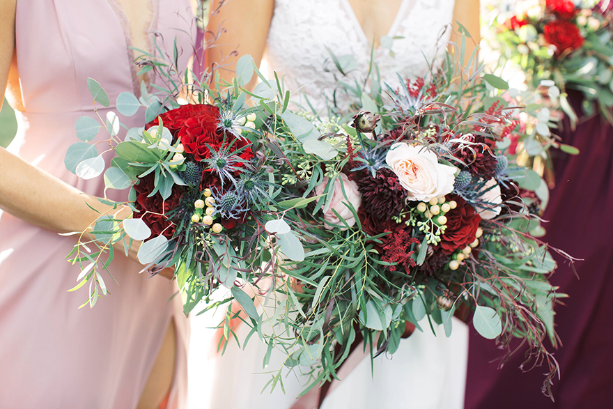 wine-tone bouquets full of texture