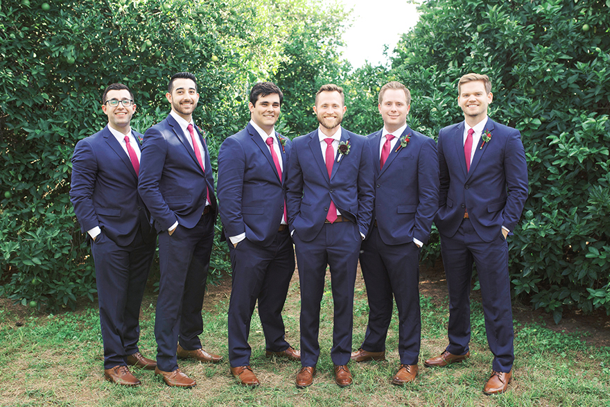 groomsmen in blue & burgundy