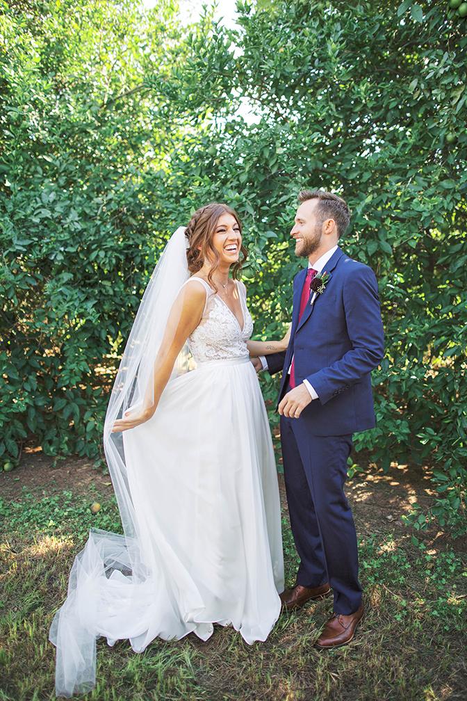 first look between the bride & groom
