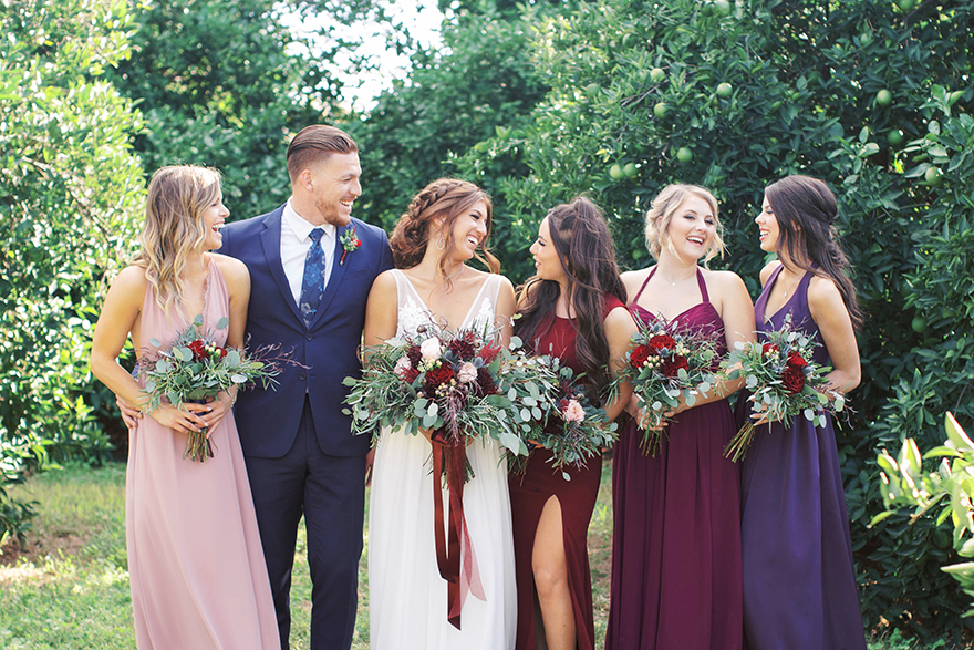 bridal party in wine-tones