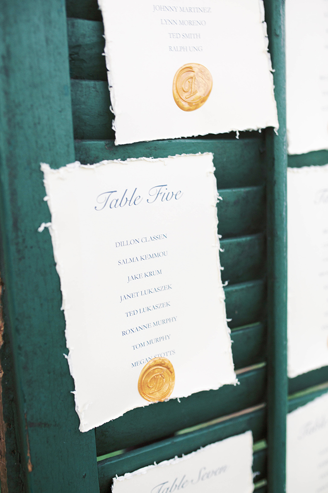 escort card display with hand-made paper & wax stamps