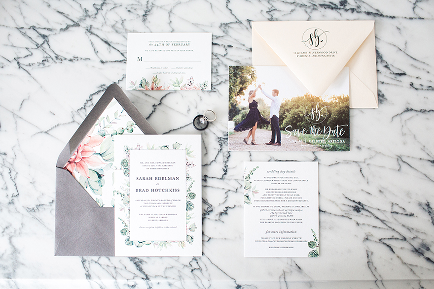 sweet floral invitation suite