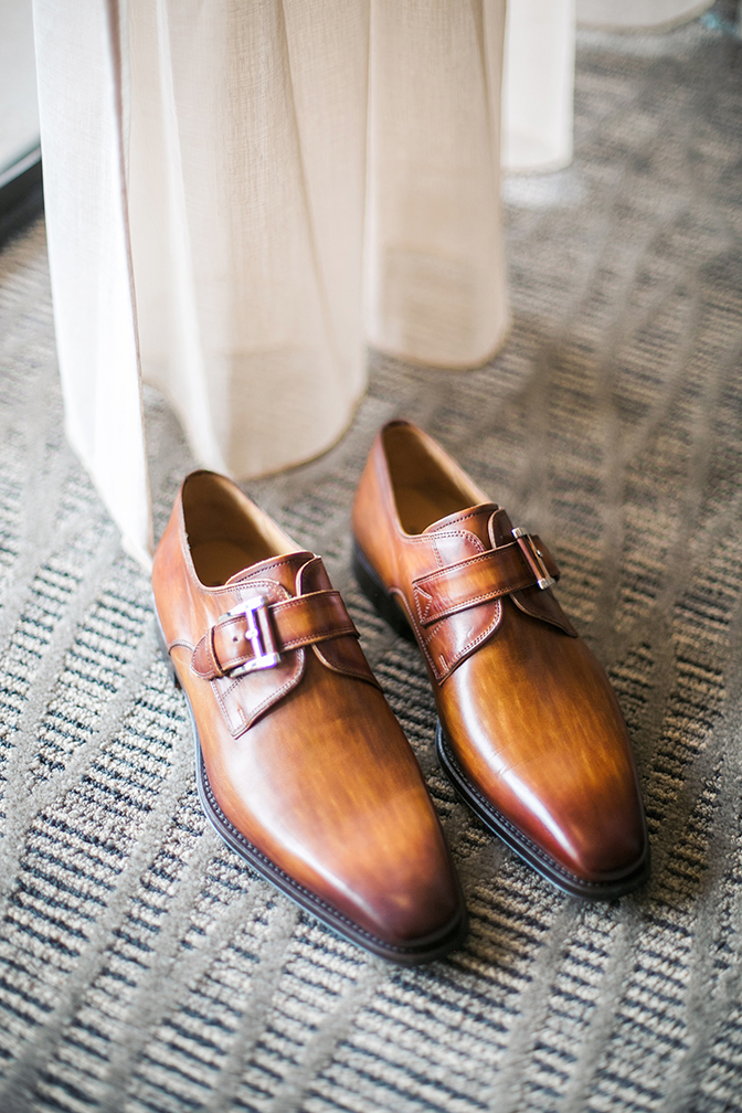 brown leather shoes with buckle for the groom