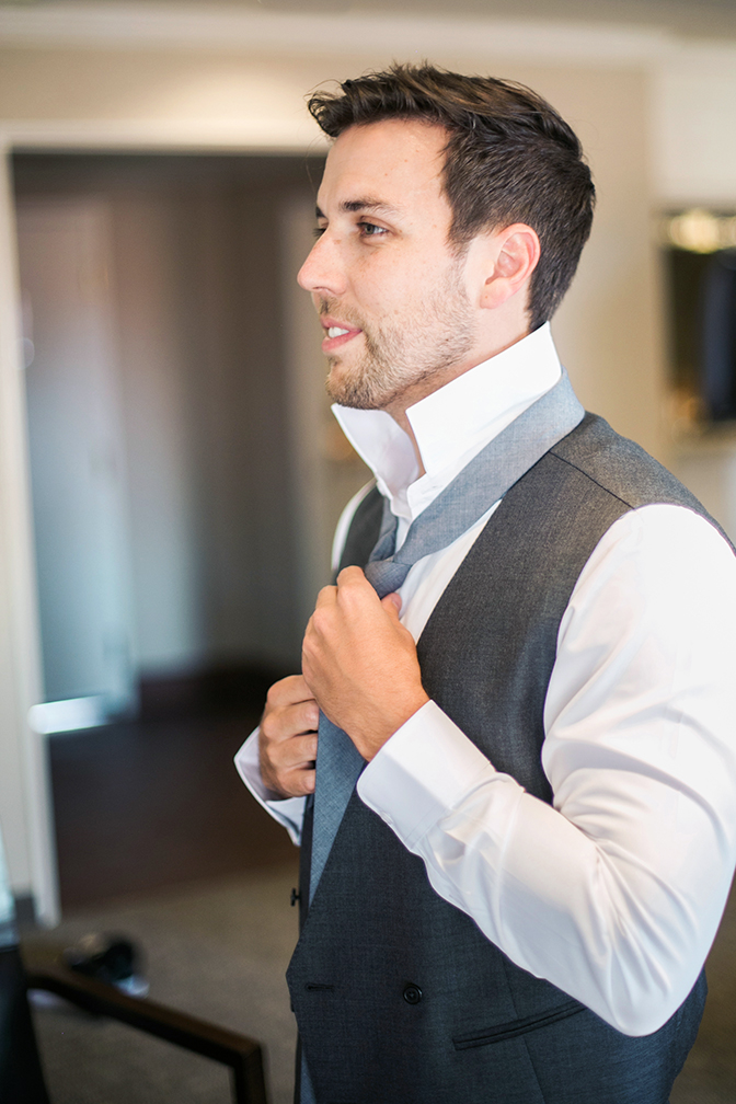 finishing touches for the groom