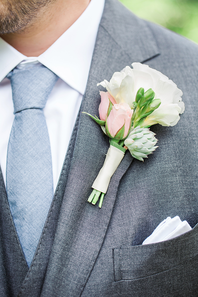 romantic boutonniere with succulent