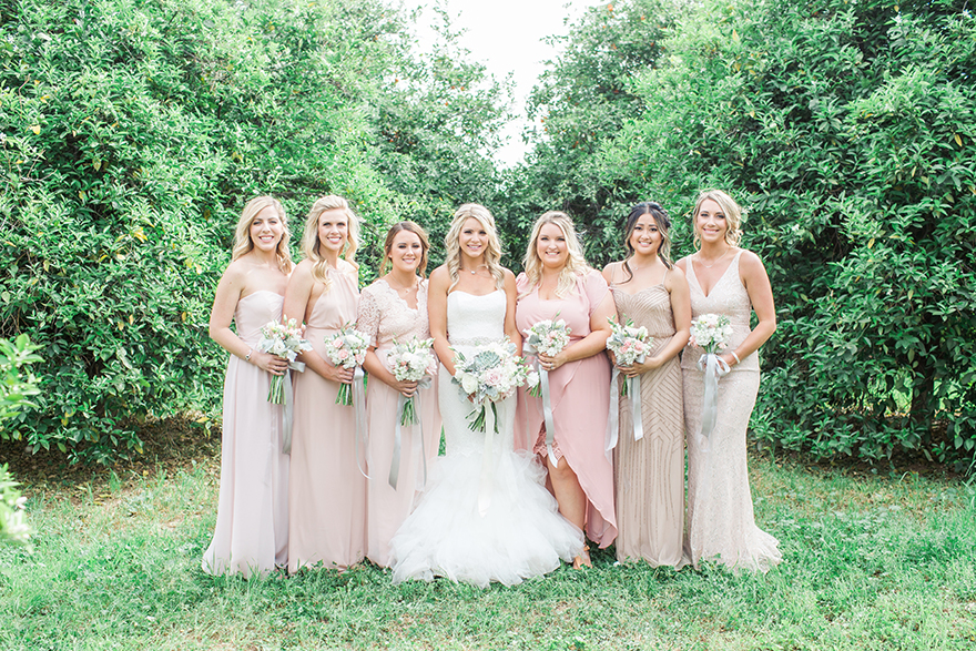 mix & match bridesmaids in pink