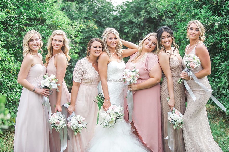 mix & match bridesmaids in pink