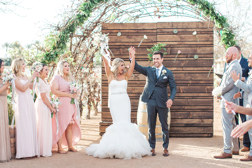 stylish, modern wedding ceremony at The Farm at Agritopia