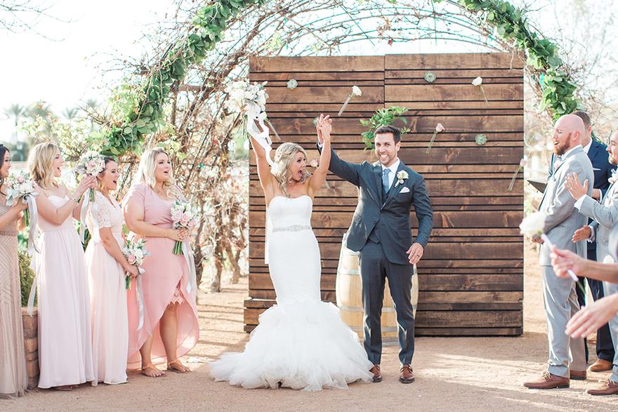 stylish, modern wedding ceremony at The Farm at Agritopia