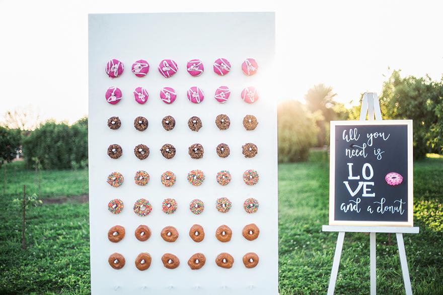 donut wall for a wedding reception