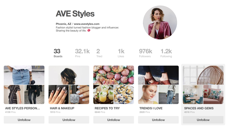 popular Pinterest page of  AVE Styles