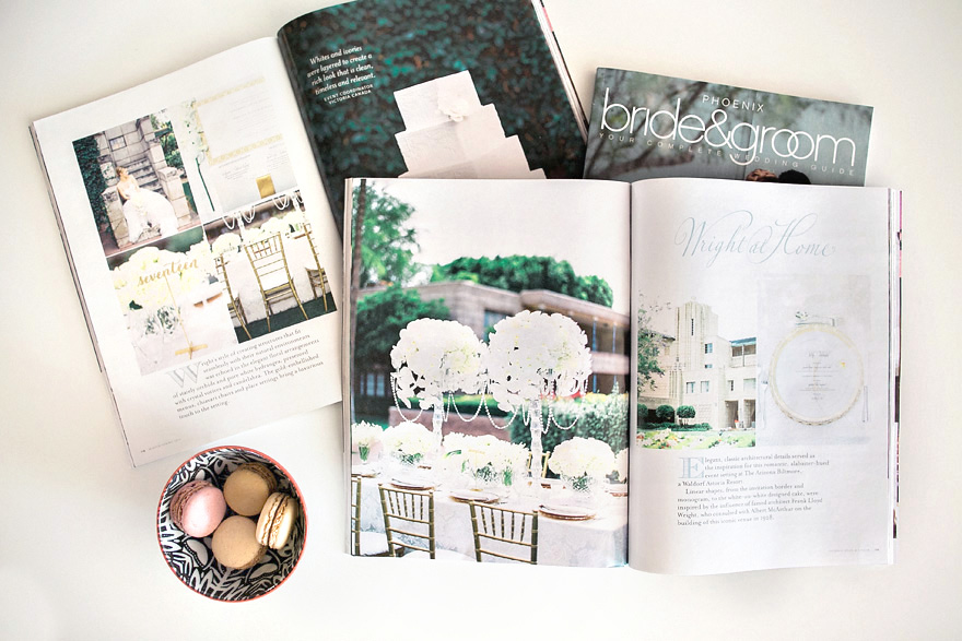 Bridal magazine open to a spread depicting a white wedding at the Arizona Biltmore.