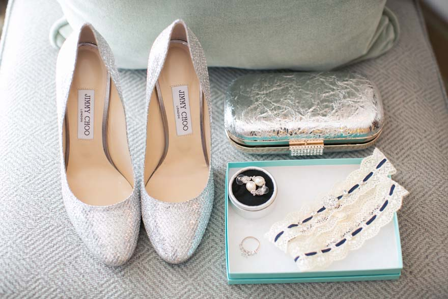 finishing touches for the bride: Jimmy Choo shoes & pearl earrings