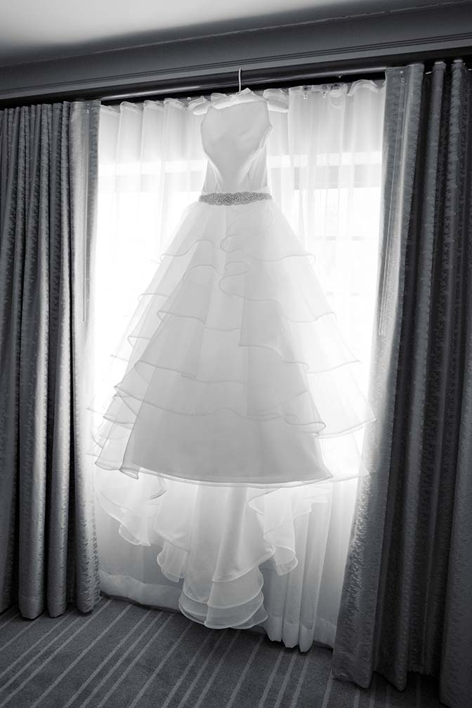 layered ballgown waiting for the bride