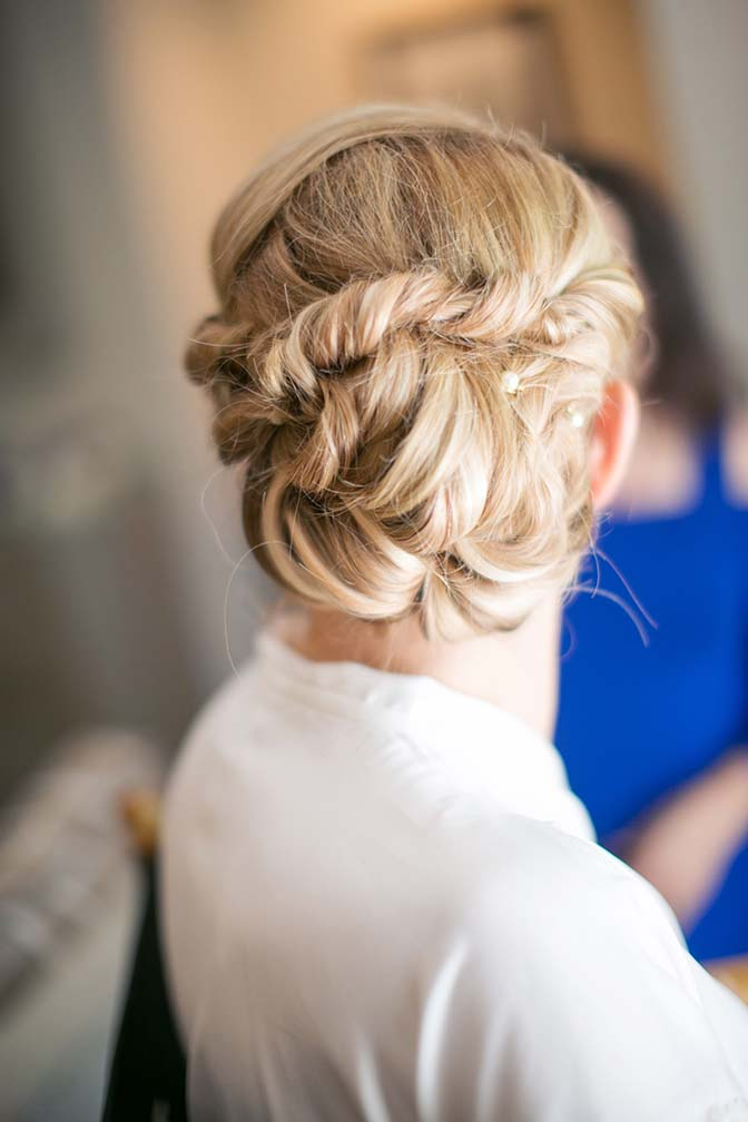 elegant twisted up-do for a bride