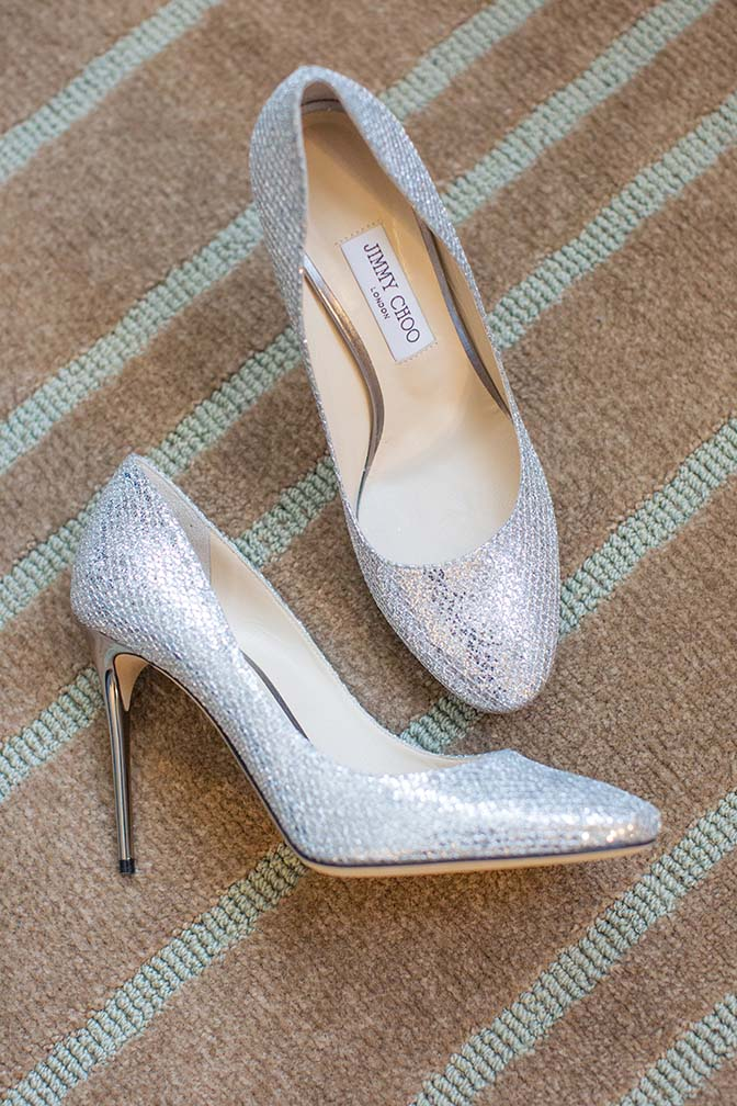 silver Jimmy Choo shoes for a bride