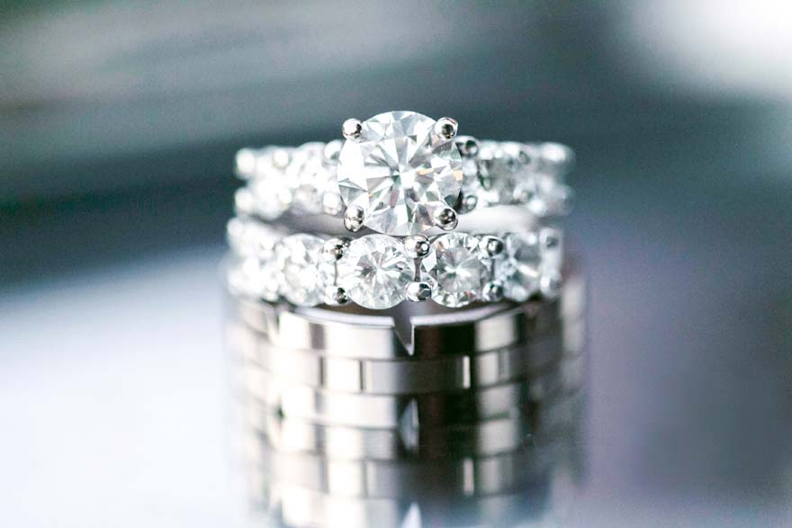 unique textured ring for him, diamond band for her