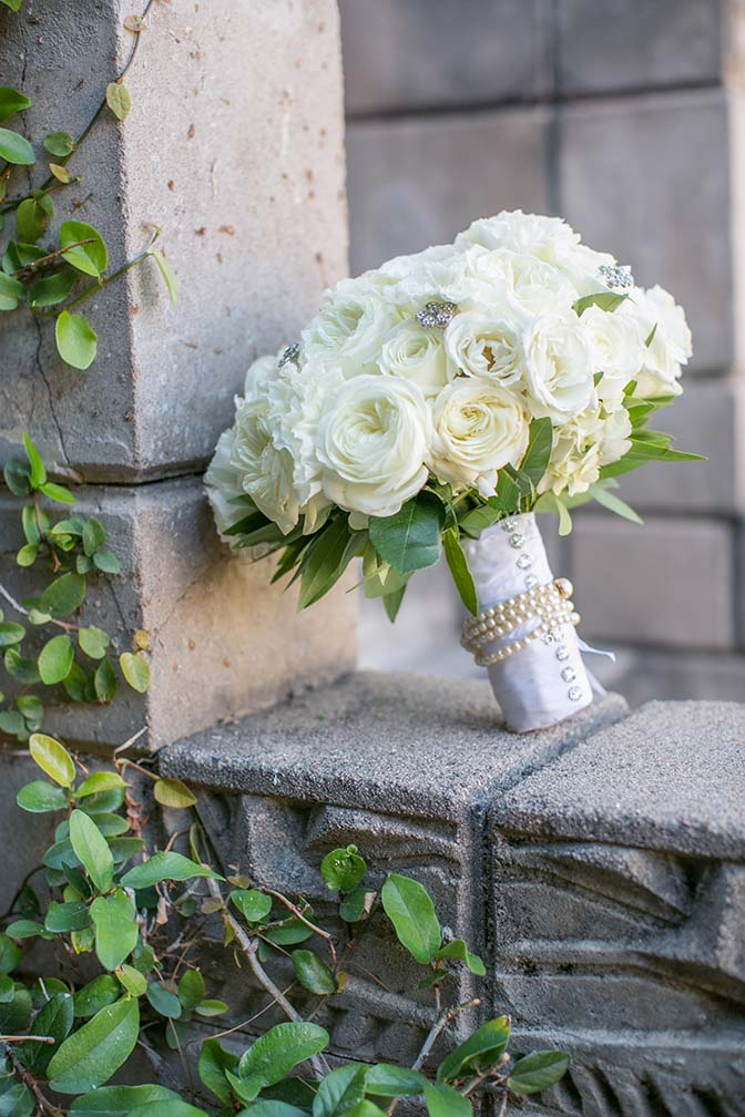 all white bouquet with crystal accents