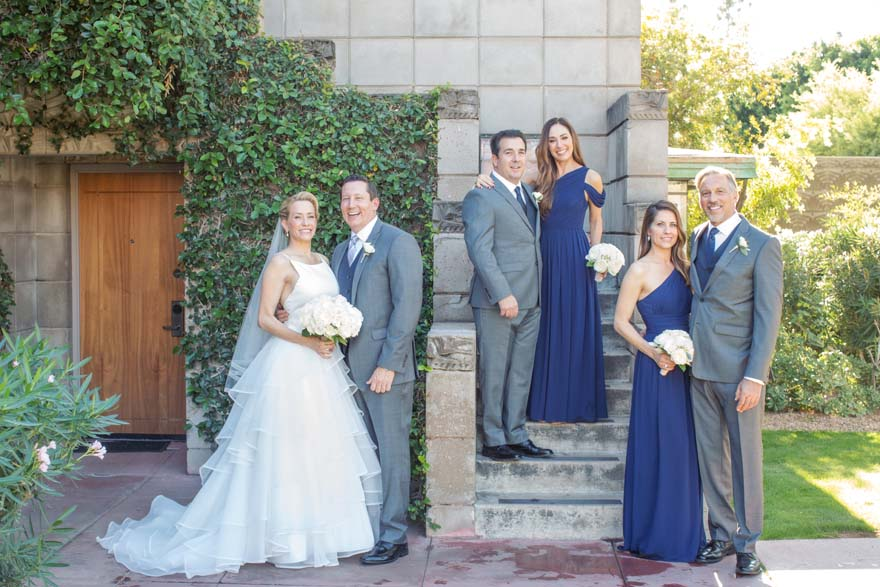 bridal party poses at Arizona Biltmore