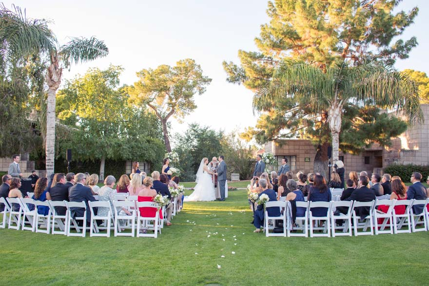 outdoor wedding ceremony at the Arizona Biltmore