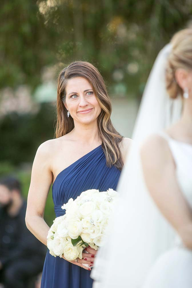 teary bridesmaid in blue
