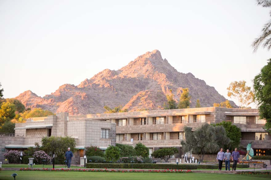 Arizona Biltmore with mountains behind it