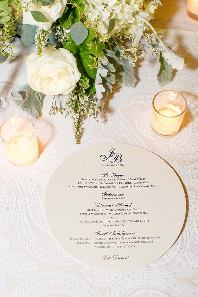 circular menu on an elegant reception table