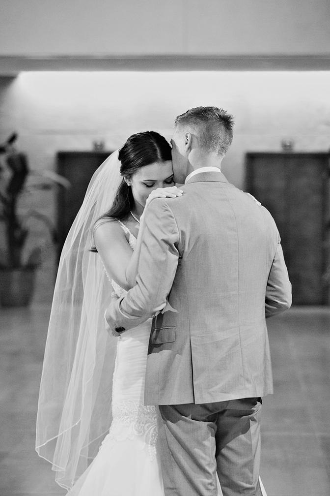 emotional first look between the bride & groom