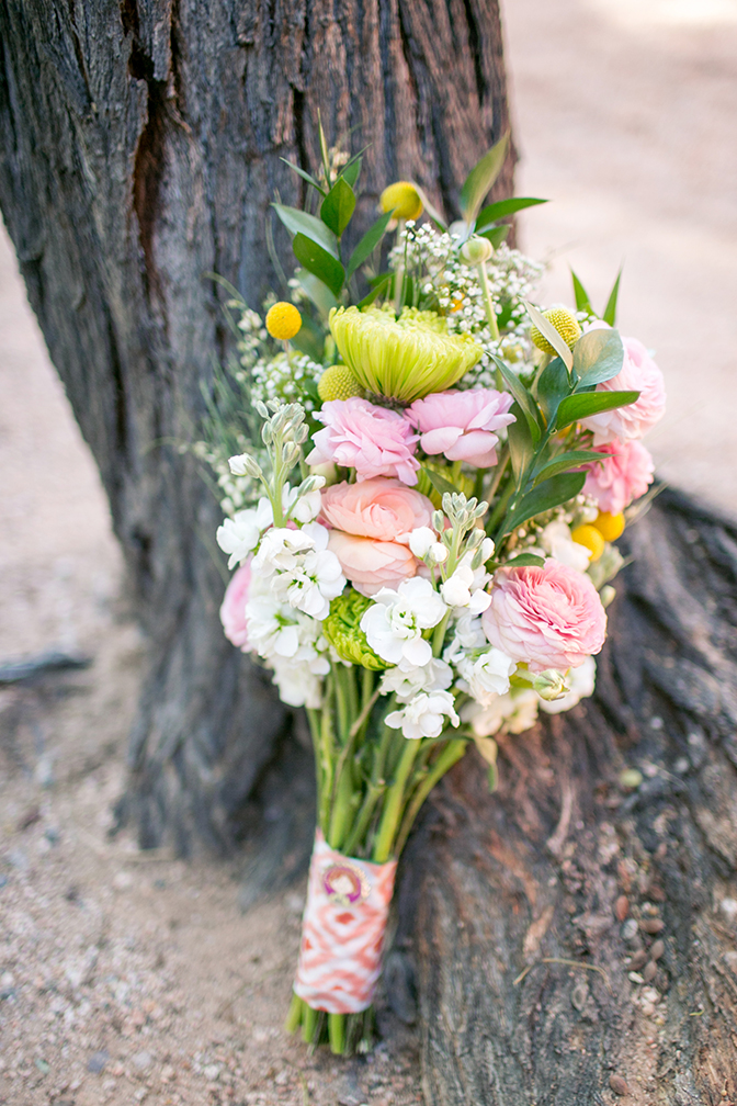 rustic bouquet with bright ribbon