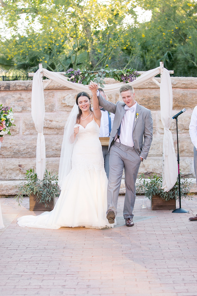 bride & groom celebrate being husband and wife
