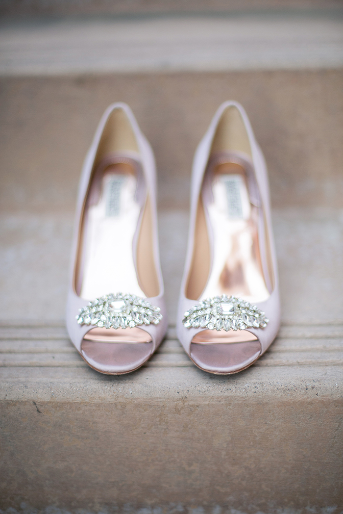 Gorgeous blush wedding shoes with bling on the peep-toes