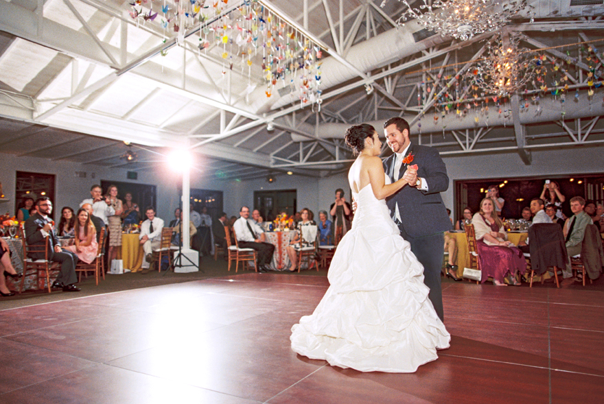Bride & groom share their first dance