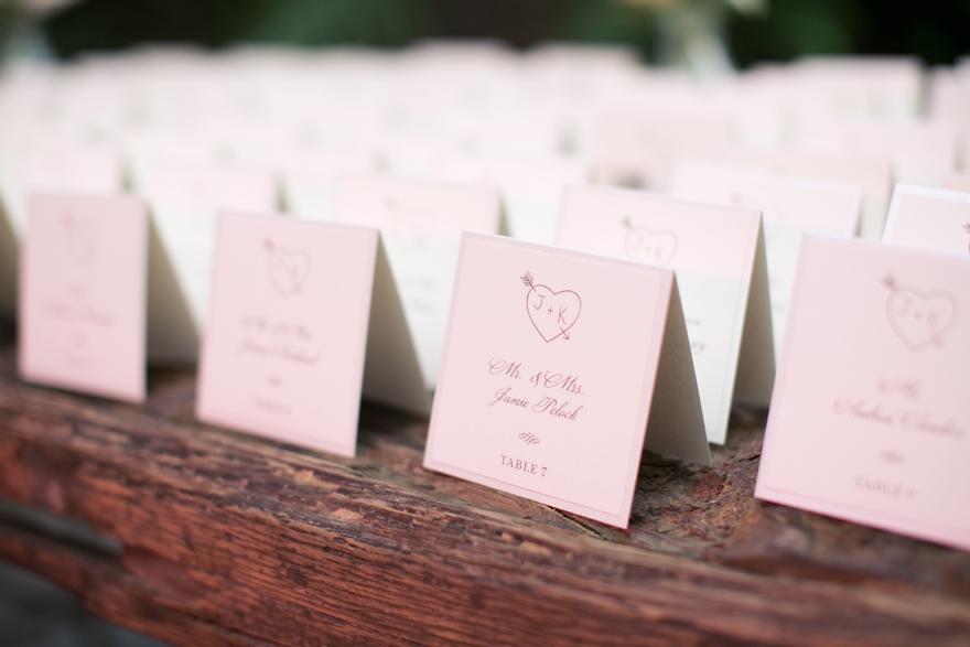 Escort cards for a wedding reception