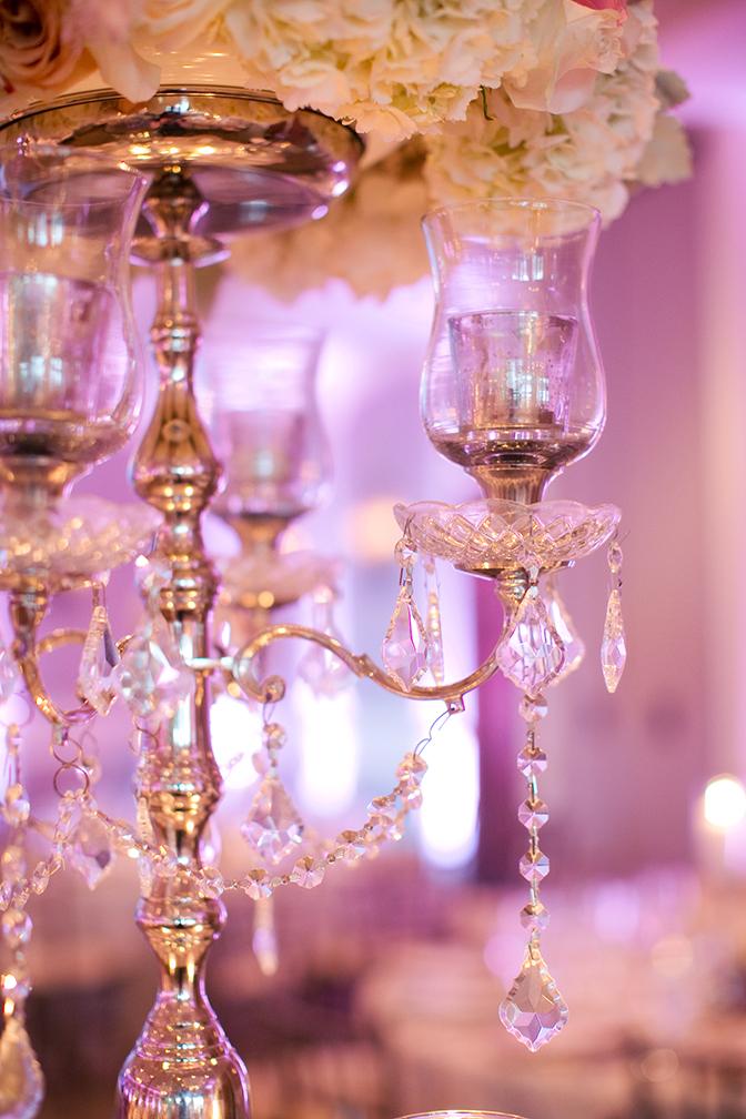 Elegant wedding reception with crystal candelabra